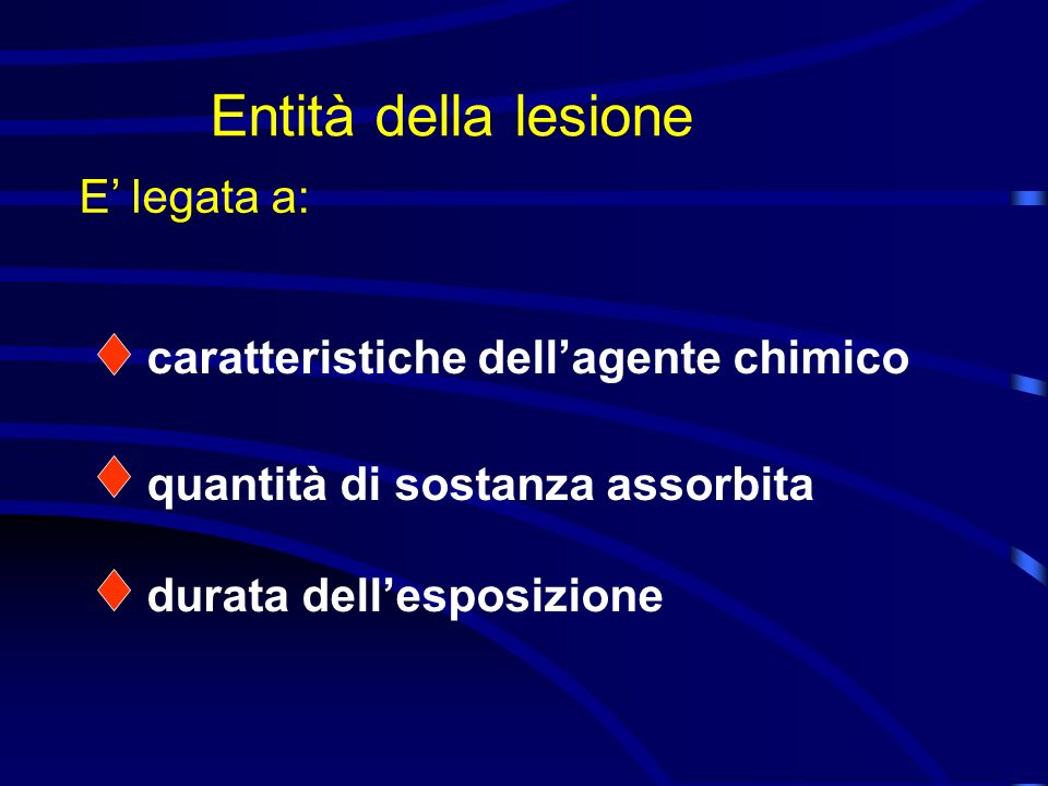 Entità della lesione E' legata a: caratteristiche dell'agente chimico