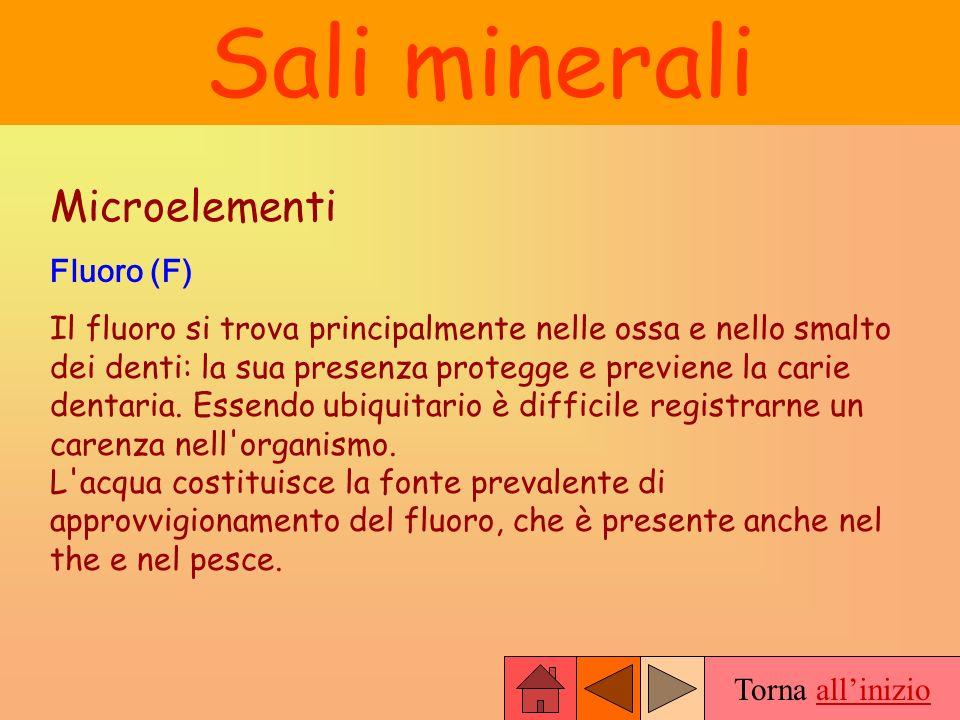 Sali minerali Microelementi Fluoro (F)