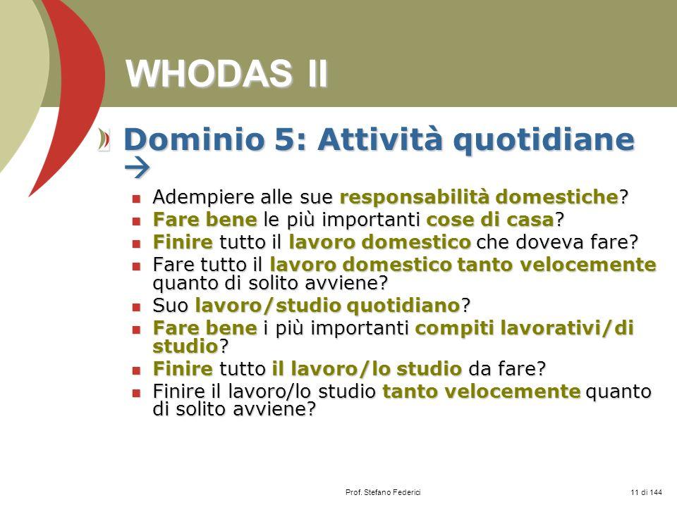 WHODAS II Dominio 5: Attività quotidiane 