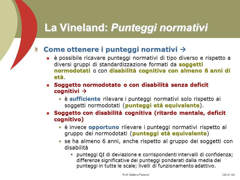 La Vineland: Punteggi normativi