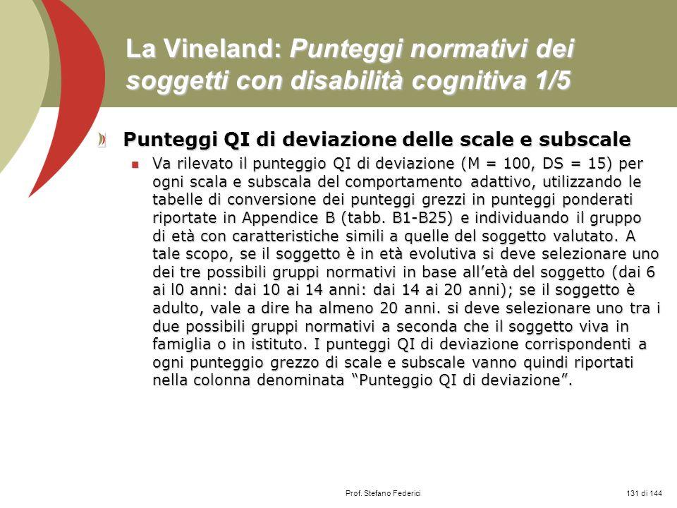 La Vineland: Punteggi normativi dei soggetti con disabilità cognitiva 1/5