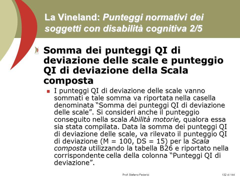 La Vineland: Punteggi normativi dei soggetti con disabilità cognitiva 2/5