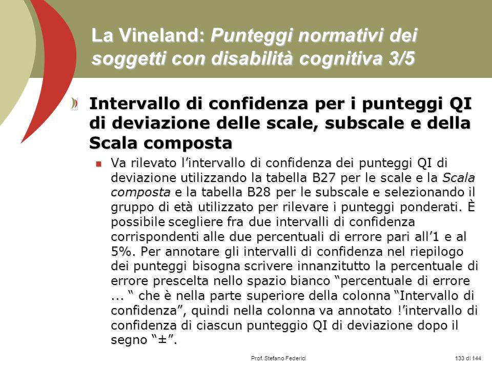 La Vineland: Punteggi normativi dei soggetti con disabilità cognitiva 3/5