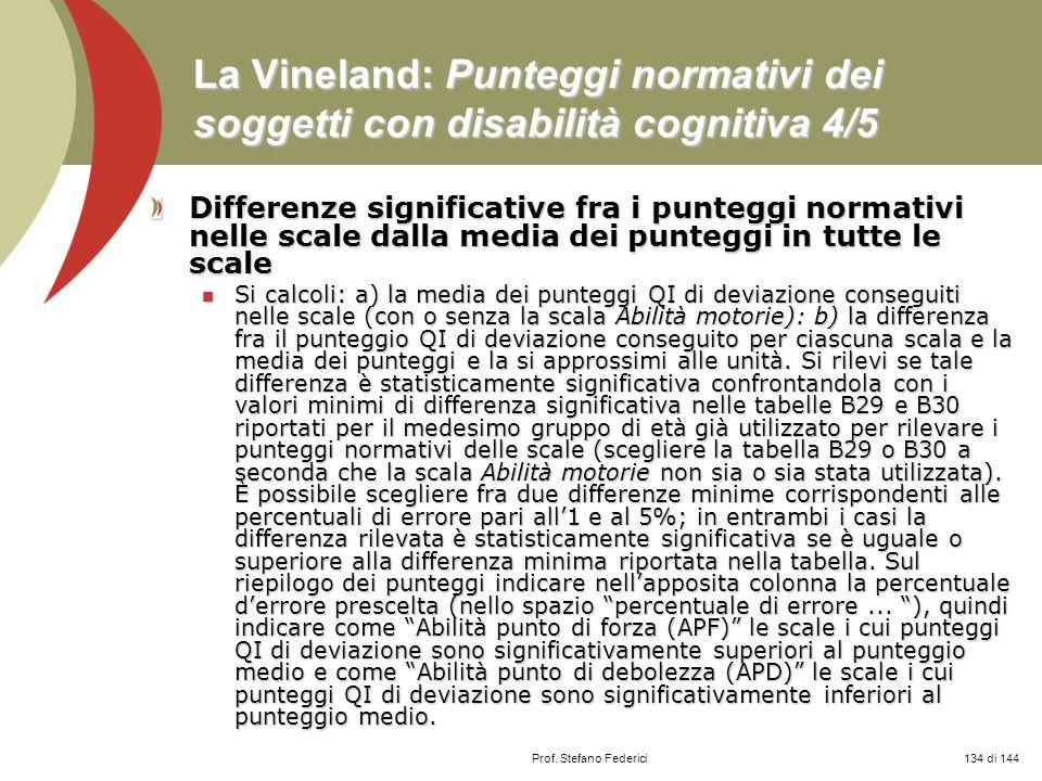 La Vineland: Punteggi normativi dei soggetti con disabilità cognitiva 4/5