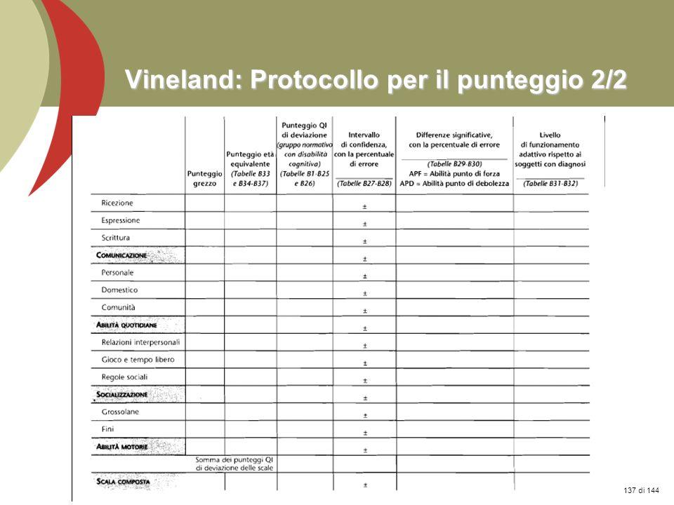Vineland: Protocollo per il punteggio 2/2
