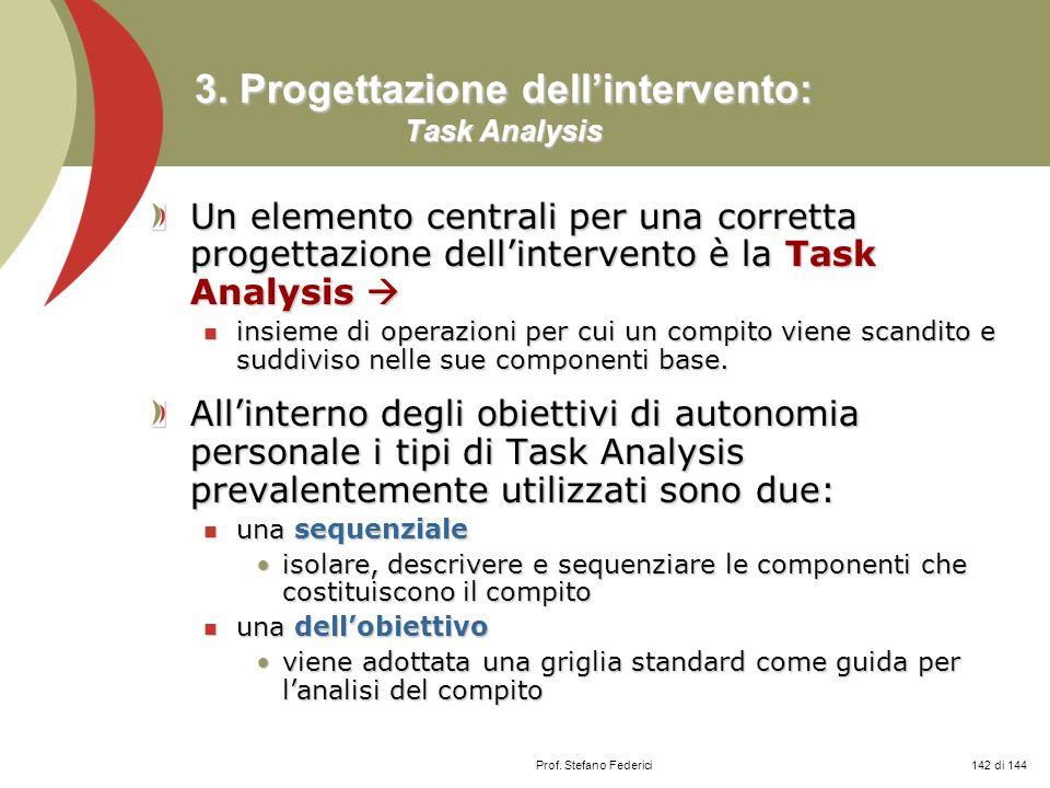 3. Progettazione dell'intervento: Task Analysis