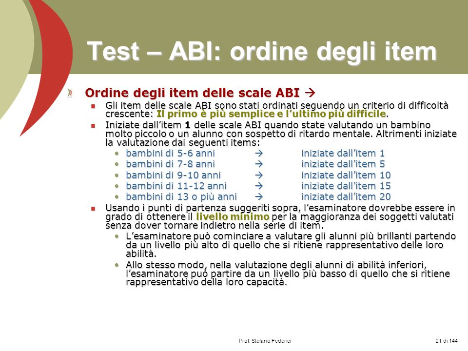Test – ABI: ordine degli item