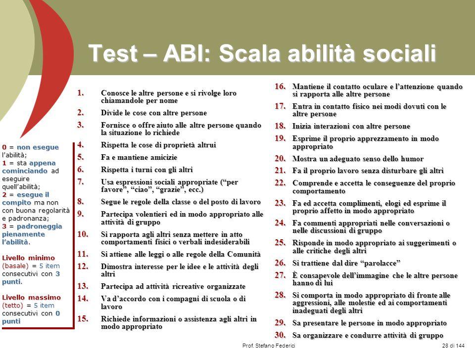 Test – ABI: Scala abilità sociali
