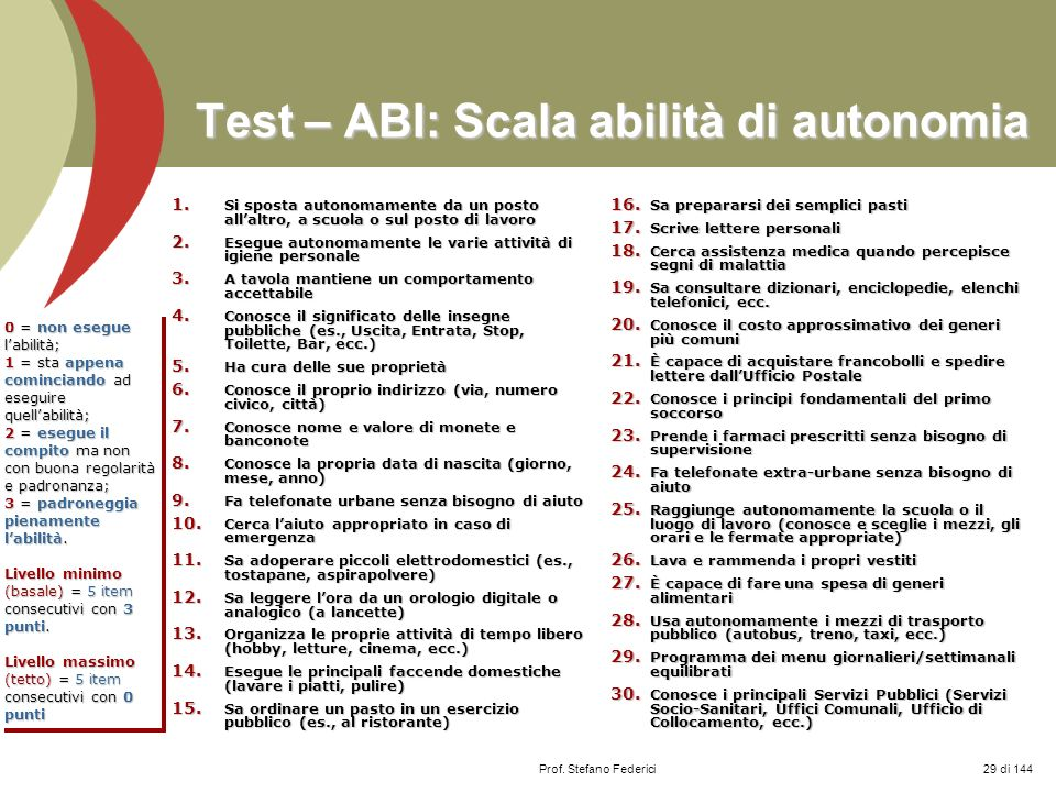 Test – ABI: Scala abilità di autonomia