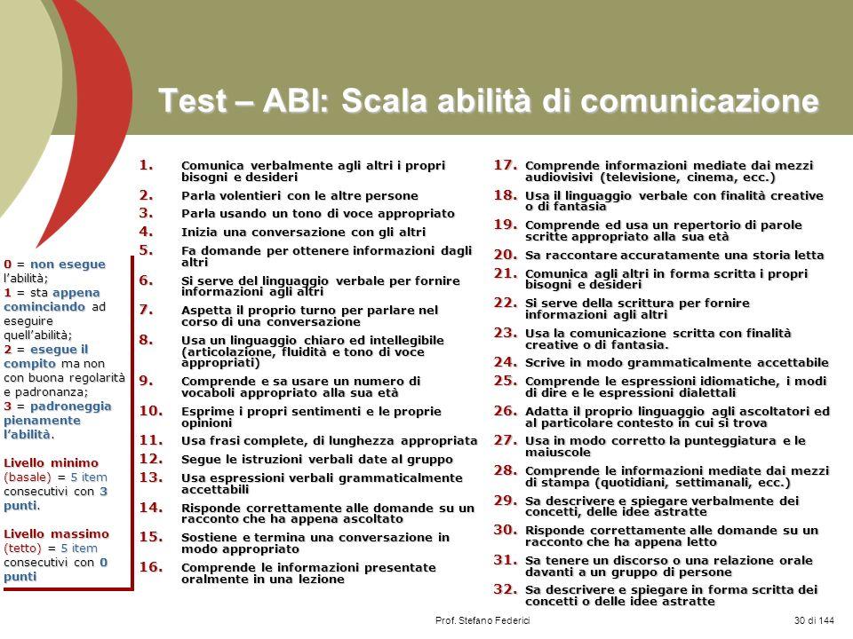 Test – ABI: Scala abilità di comunicazione