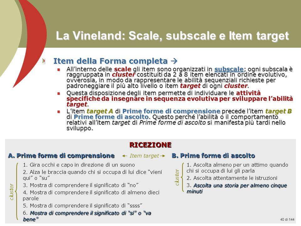 La Vineland: Scale, subscale e Item target