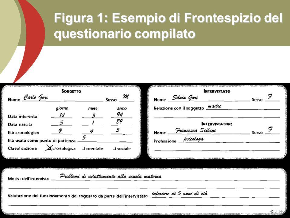 Figura 1: Esempio di Frontespizio del questionario compilato