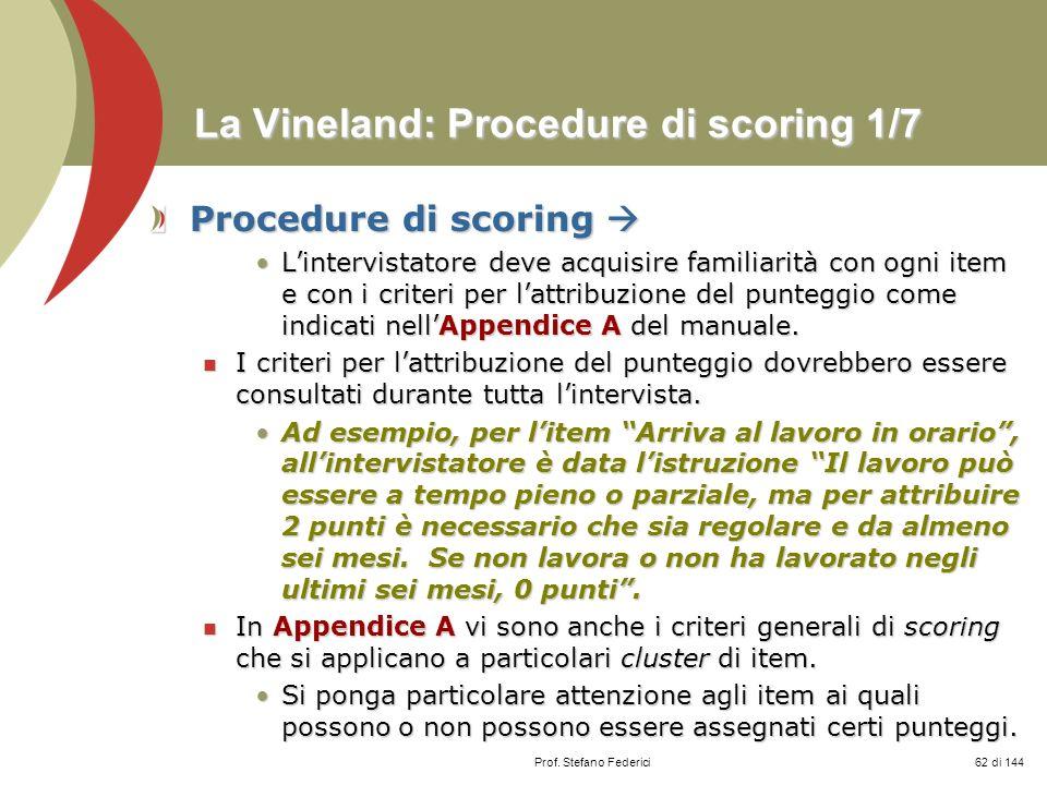 La Vineland: Procedure di scoring 1/7