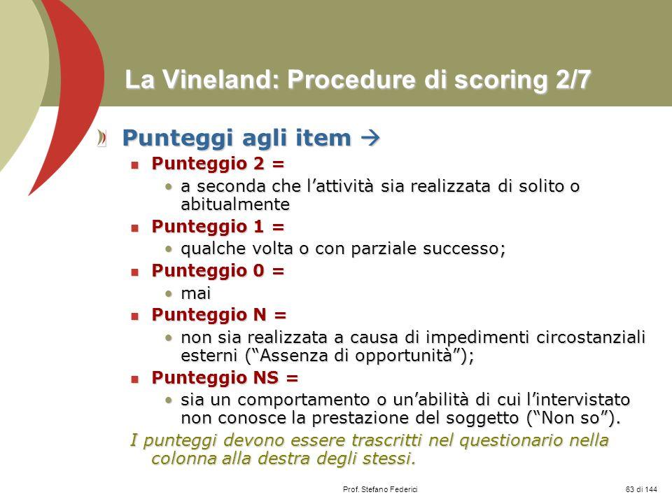 La Vineland: Procedure di scoring 2/7