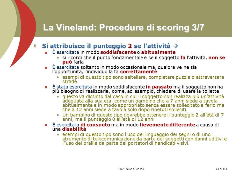 La Vineland: Procedure di scoring 3/7