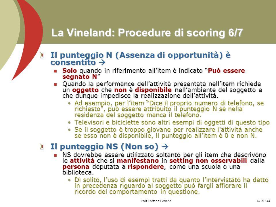 La Vineland: Procedure di scoring 6/7