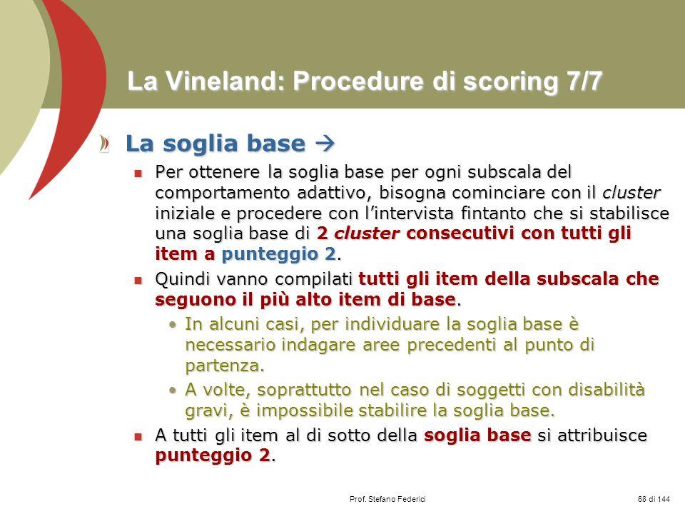 La Vineland: Procedure di scoring 7/7