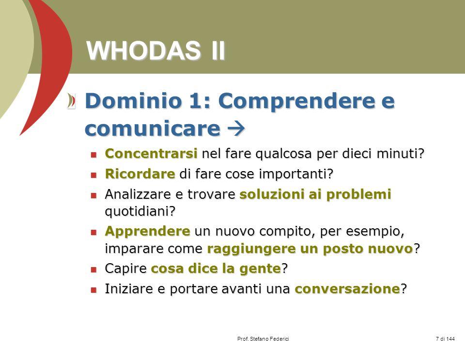 WHODAS II Dominio 1: Comprendere e comunicare 