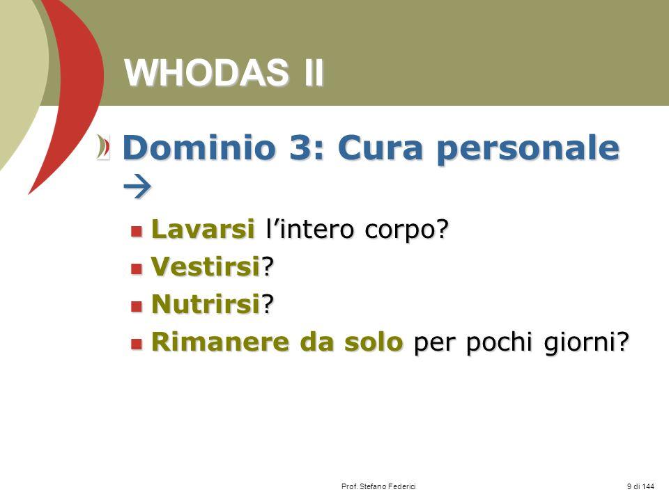 WHODAS II Dominio 3: Cura personale  Lavarsi l'intero corpo
