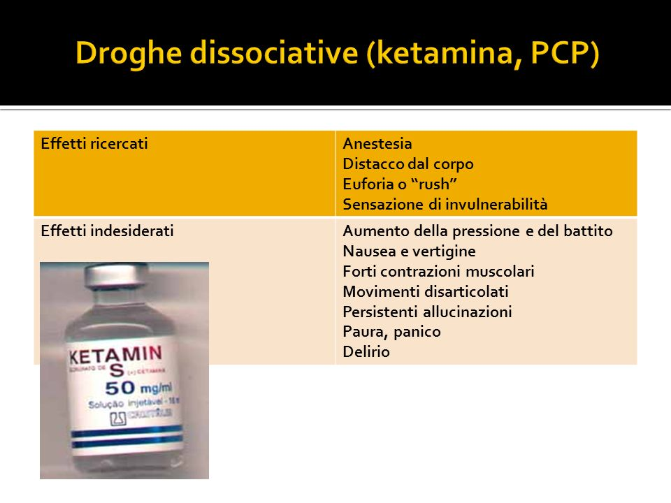 Droghe dissociative (ketamina, PCP)