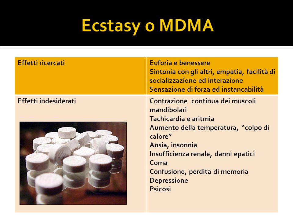 Ecstasy o MDMA Effetti ricercati Euforia e benessere