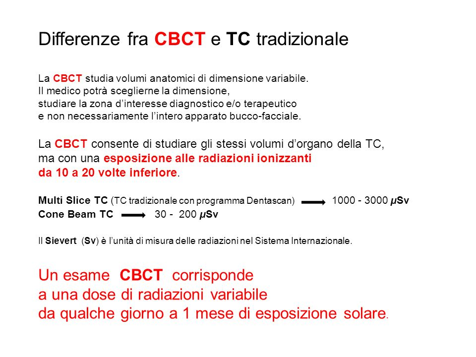 Differenze fra CBCT e TC tradizionale