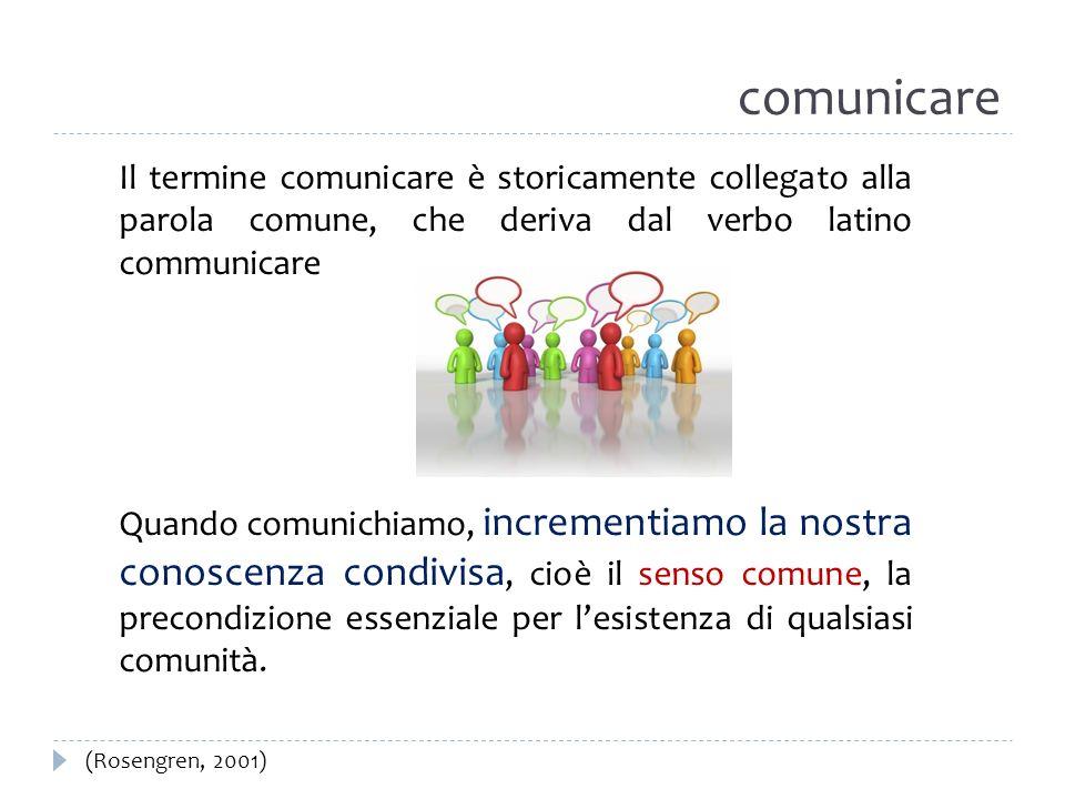 comunicareIl termine comunicare è storicamente collegato alla parola comune, che deriva dal verbo latino communicare.