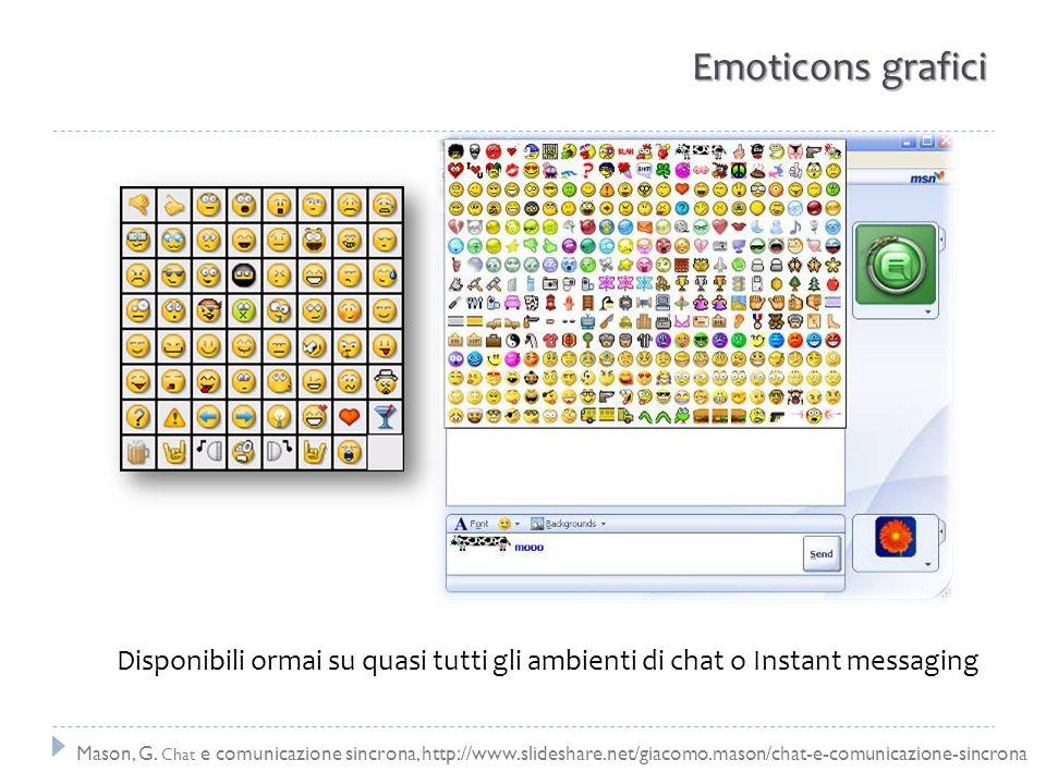 Emoticons grafici Disponibili ormai su quasi tutti gli ambienti di chat o Instant messaging.