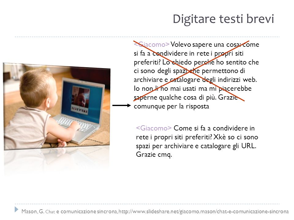 Digitare testi brevi