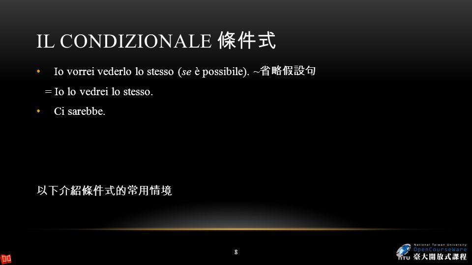 Il condizionale 條件式 Io vorrei vederlo lo stesso (se è possibile). ~省略假設句. = Io lo vedrei lo stesso.