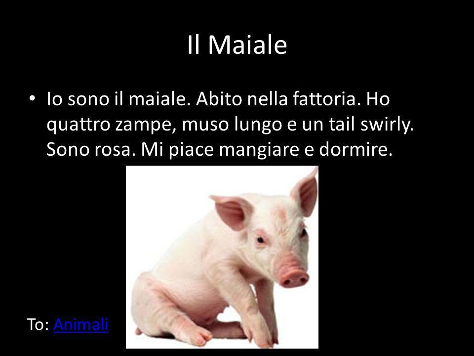 Il Maiale Io sono il maiale. Abito nella fattoria. Ho quattro zampe, muso lungo e un tail swirly. Sono rosa. Mi piace mangiare e dormire.