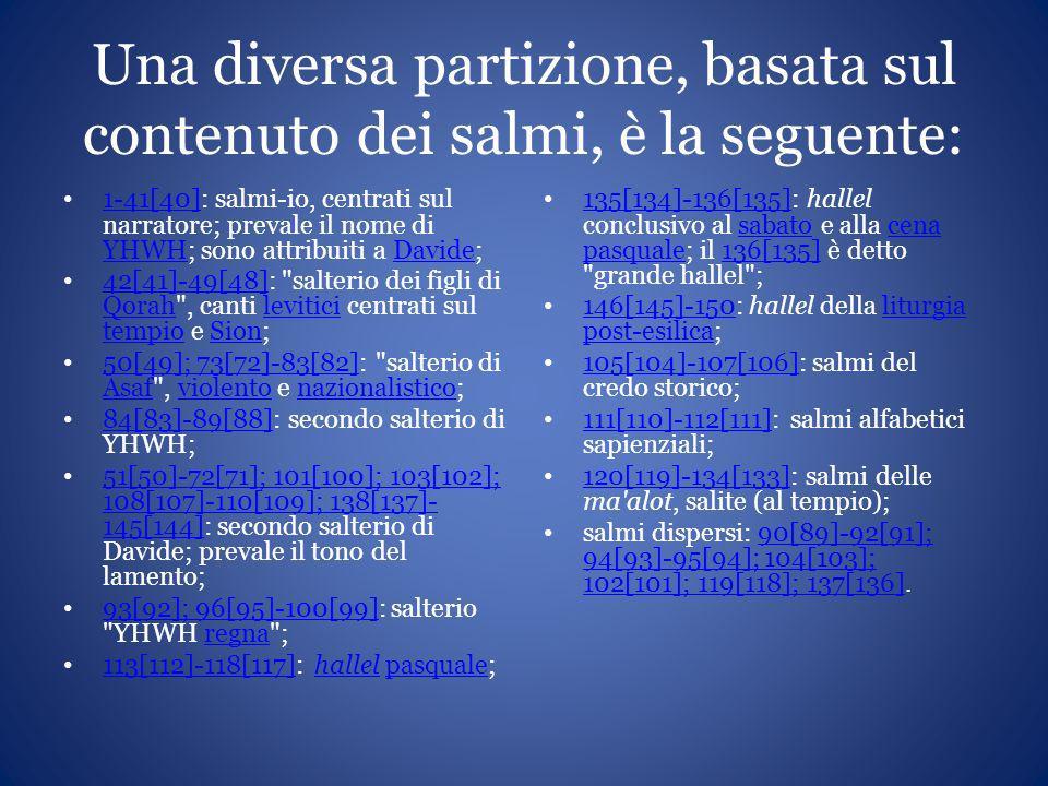 Una diversa partizione, basata sul contenuto dei salmi, è la seguente: