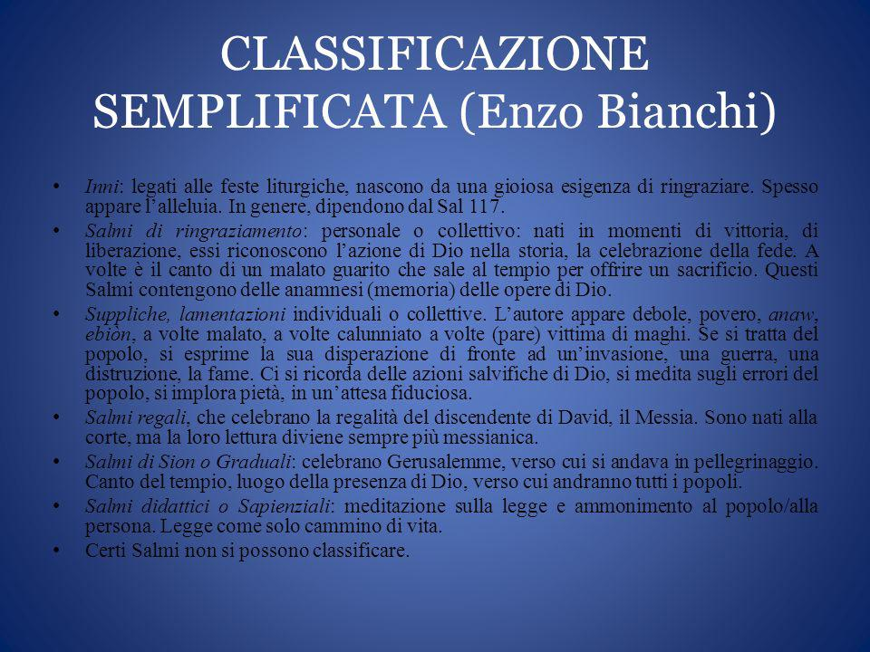 CLASSIFICAZIONE SEMPLIFICATA (Enzo Bianchi)