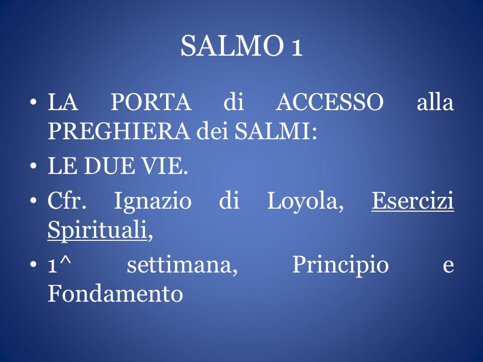 SALMO 1 LA PORTA di ACCESSO alla PREGHIERA dei SALMI: LE DUE VIE.