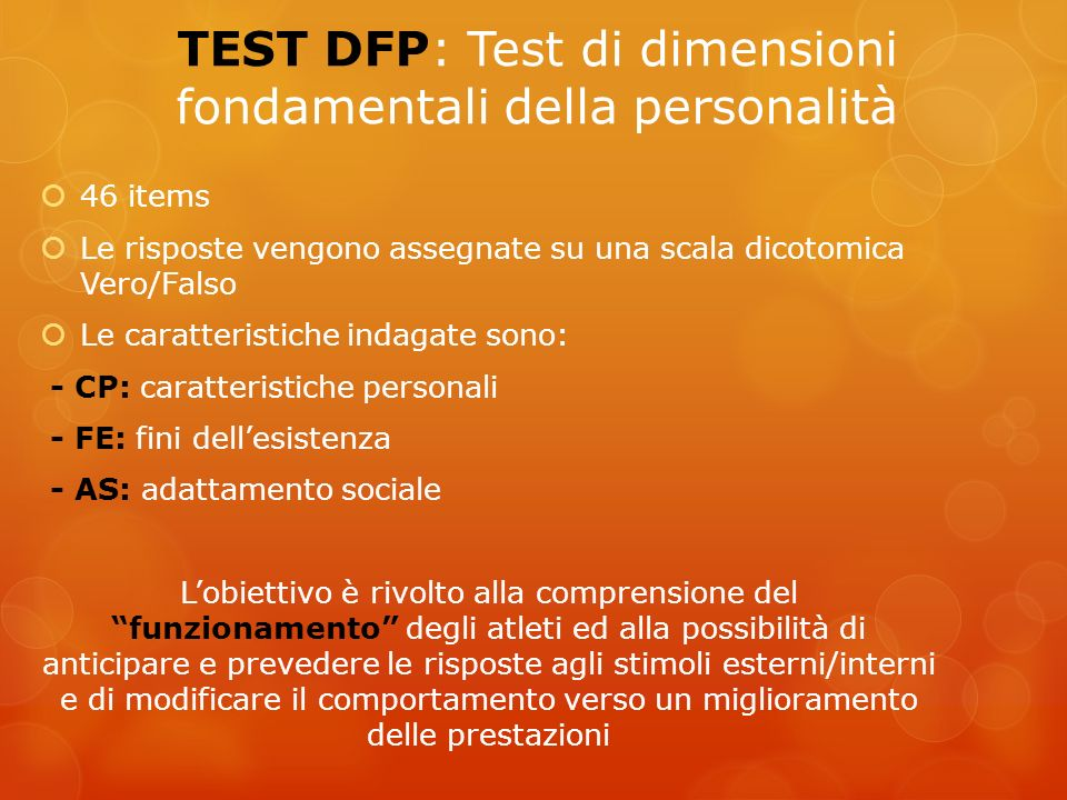 TEST DFP: Test di dimensioni fondamentali della personalità