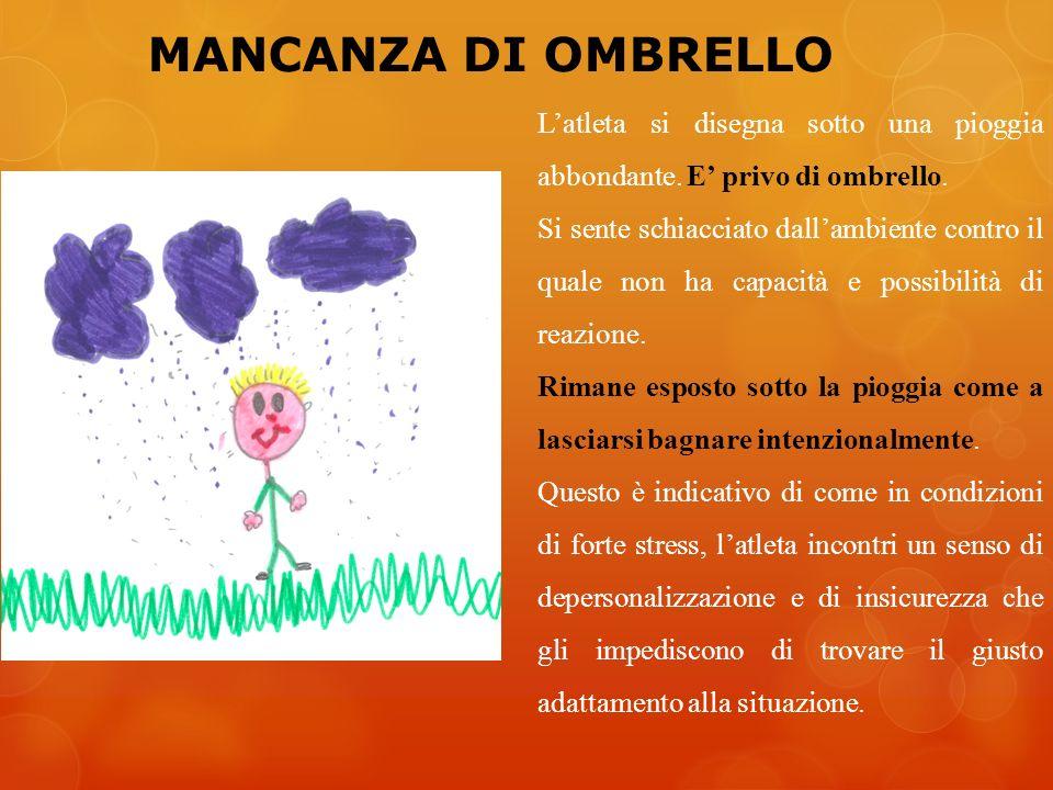 MANCANZA DI OMBRELLO L'atleta si disegna sotto una pioggia abbondante. E' privo di ombrello.