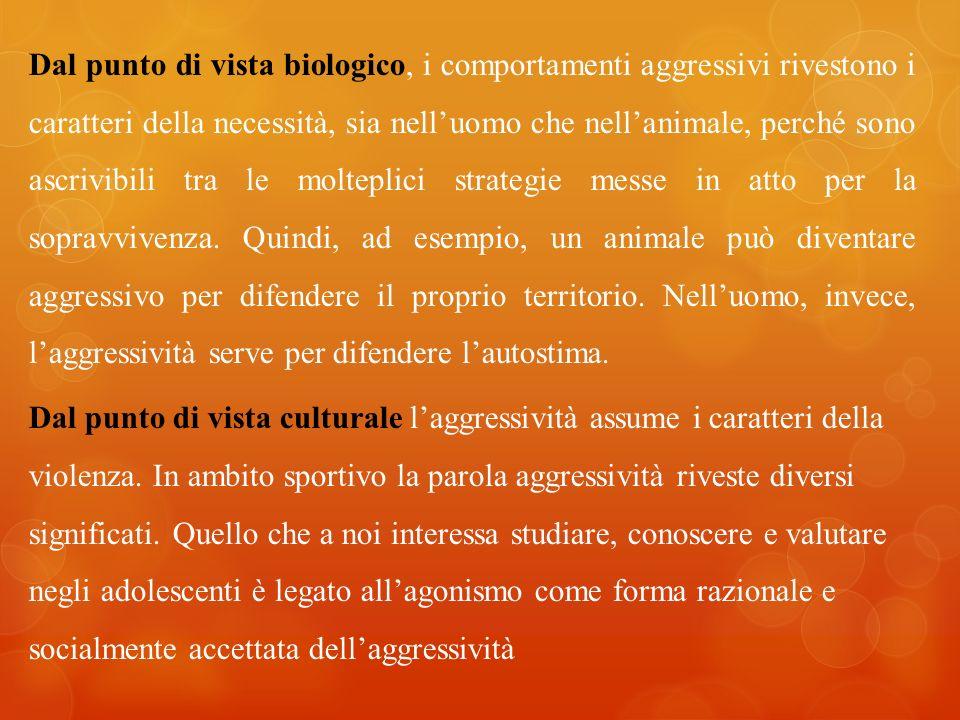 Dal punto di vista biologico, i comportamenti aggressivi rivestono i caratteri della necessità, sia nell'uomo che nell'animale, perché sono ascrivibili tra le molteplici strategie messe in atto per la sopravvivenza.