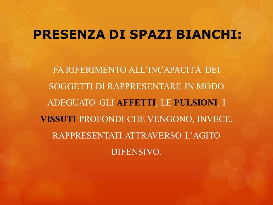 PRESENZA DI SPAZI BIANCHI: