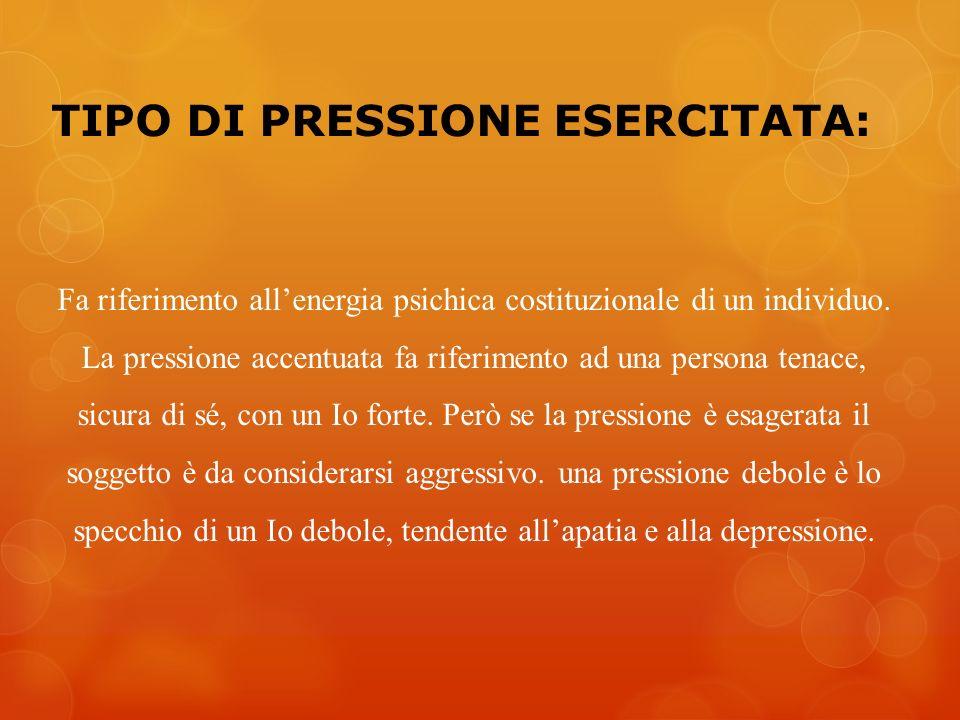 TIPO DI PRESSIONE ESERCITATA: