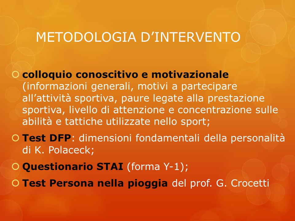 METODOLOGIA D'INTERVENTO