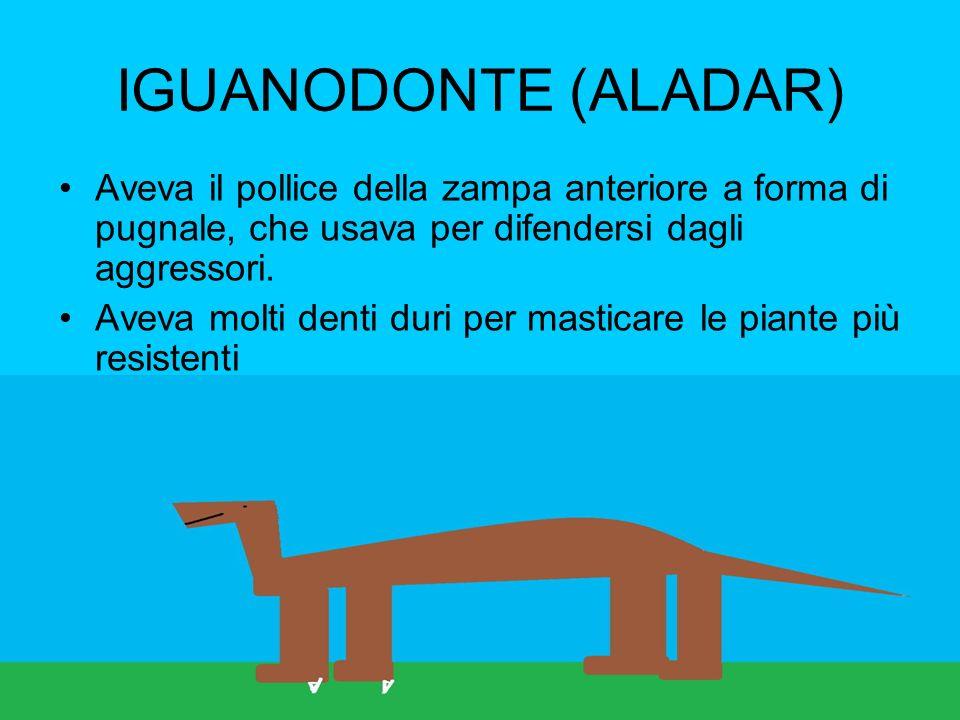 IGUANODONTE (ALADAR) Aveva il pollice della zampa anteriore a forma di pugnale, che usava per difendersi dagli aggressori.