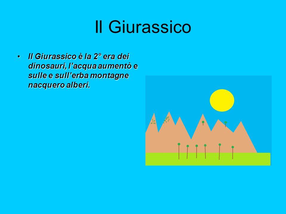 Il Giurassico Il Giurassico è la 2° era dei dinosauri, l'acqua aumentò e sulle e sull'erba montagne nacquero alberi.
