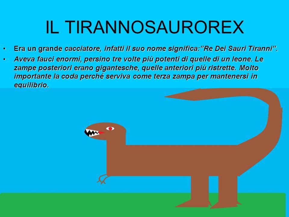 IL TIRANNOSAUROREX Era un grande cacciatore, infatti il suo nome significa: Re Dei Sauri Tiranni .