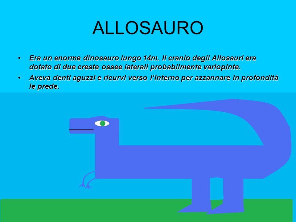 ALLOSAURO Era un enorme dinosauro lungo 14m. Il cranio degli Allosauri era dotato di due creste ossee laterali probabilmente variopinte.