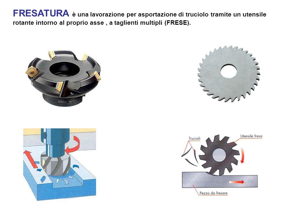 FRESATURA è una lavorazione per asportazione di truciolo tramite un utensile rotante intorno al proprio asse , a taglienti multipli (FRESE).