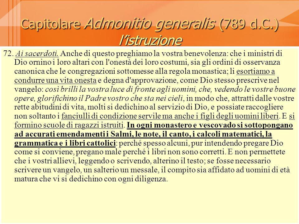 Capitolare Admonitio generalis (789 d.C.) l'istruzione