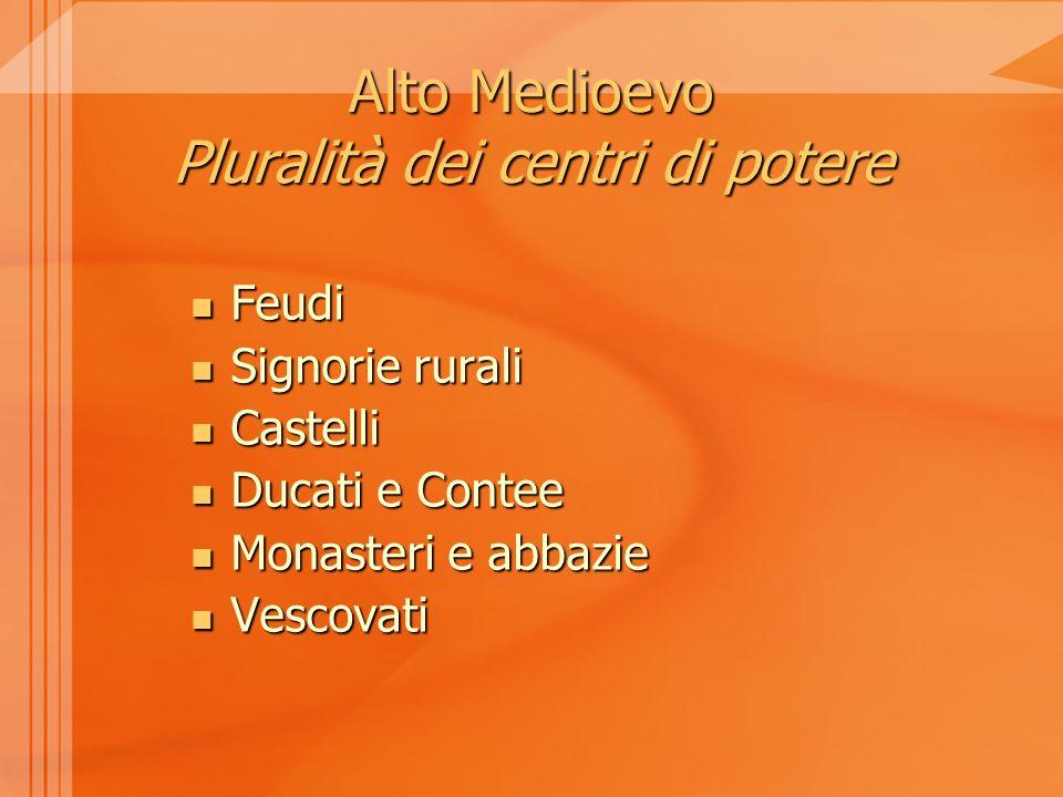 Alto Medioevo Pluralità dei centri di potere