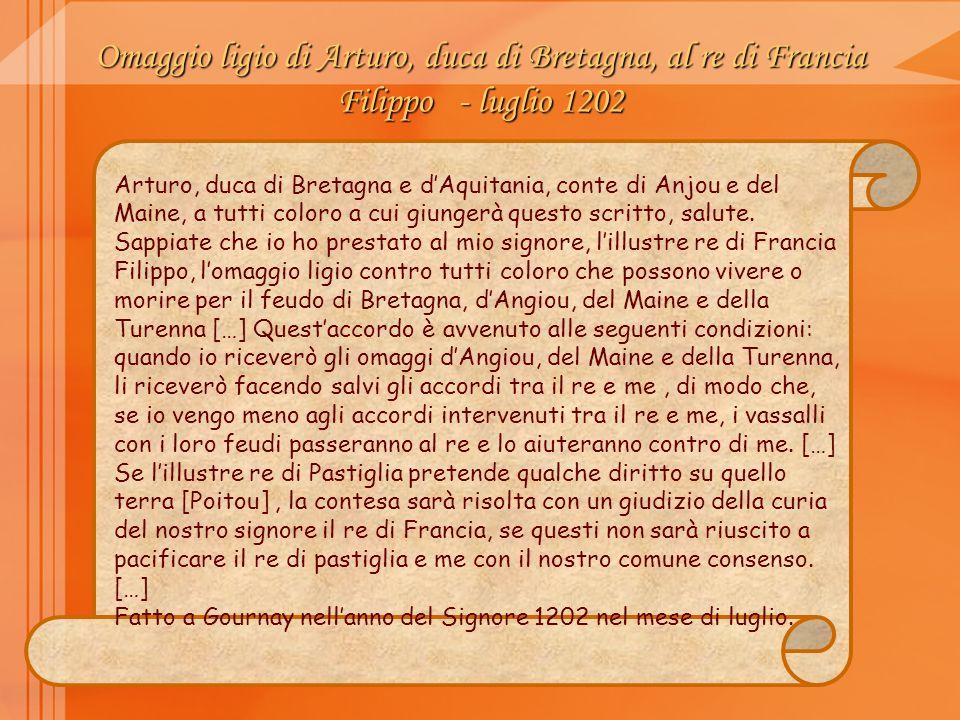 Omaggio ligio di Arturo, duca di Bretagna, al re di Francia Filippo - luglio 1202