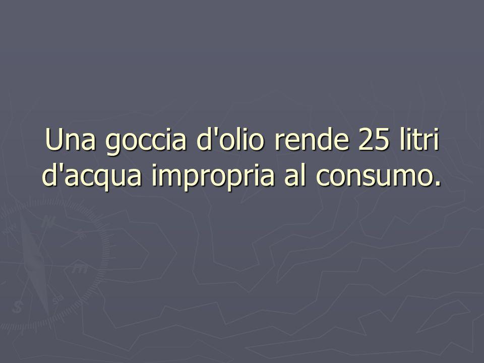 Una goccia d olio rende 25 litri d acqua impropria al consumo.