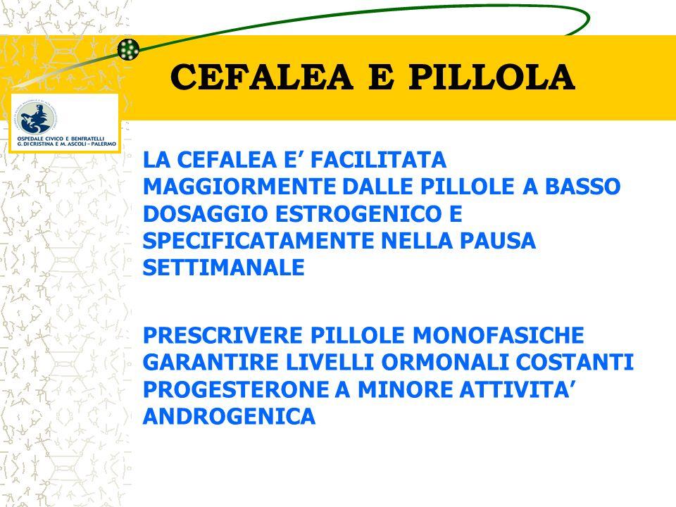 CEFALEA E PILLOLA LA CEFALEA E' FACILITATA MAGGIORMENTE DALLE PILLOLE A BASSO DOSAGGIO ESTROGENICO E SPECIFICATAMENTE NELLA PAUSA SETTIMANALE.